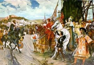 tableau représentant la prise de Grenade par les Rois Catholiques