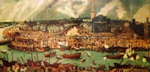 Vue Séville et de son port au XVIème