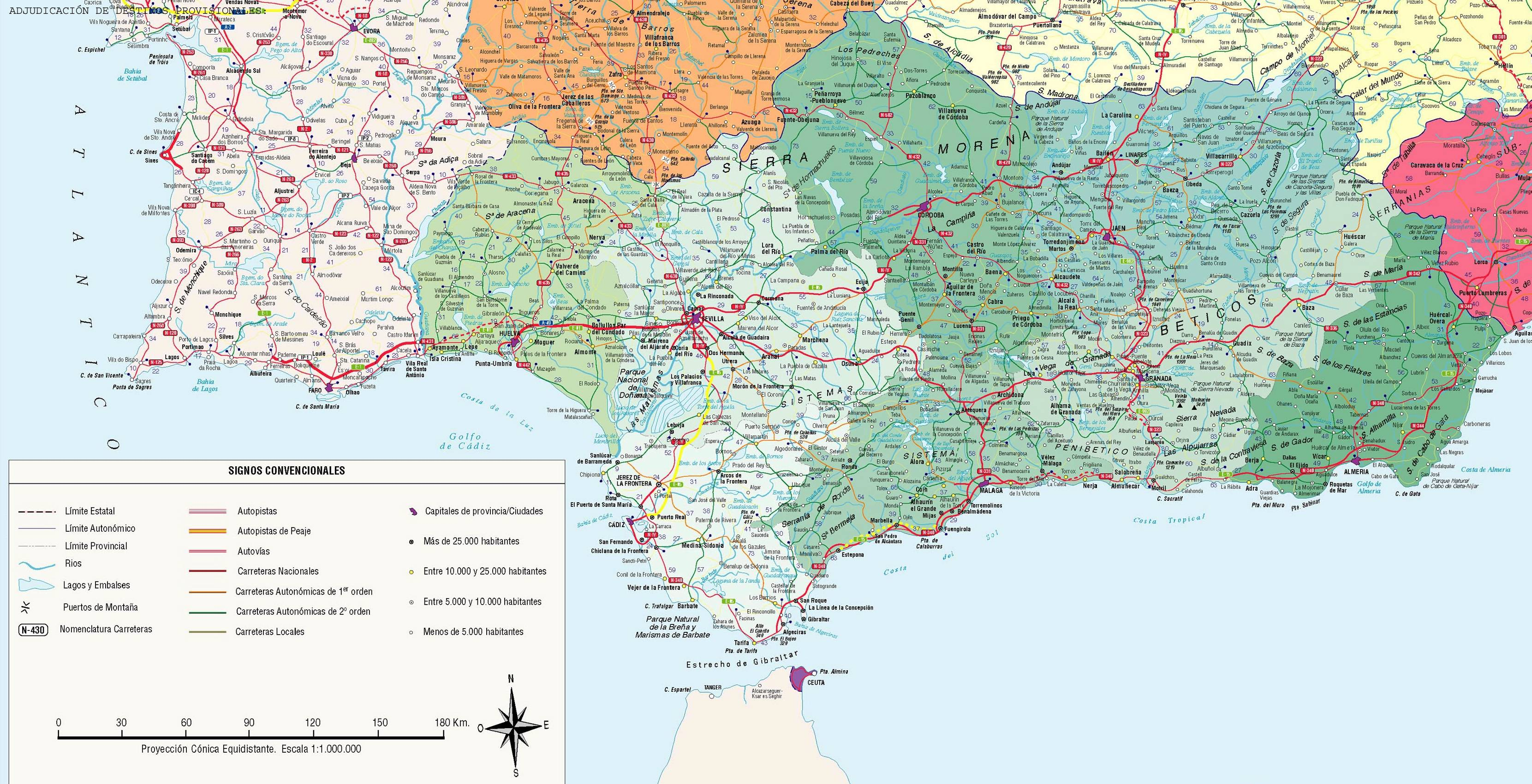 carte espagne sud detaillee - Photo