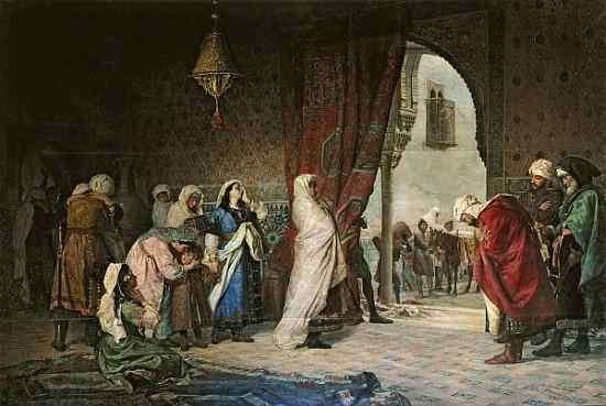"""""""Sortie de la famille de Boabdil de l'Alhambra"""" (1880), peinture de Manuel Gómez-Moreno González"""